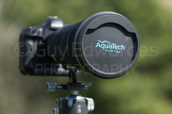 Aquatech lens caps save time and space when using large telephoto lenses