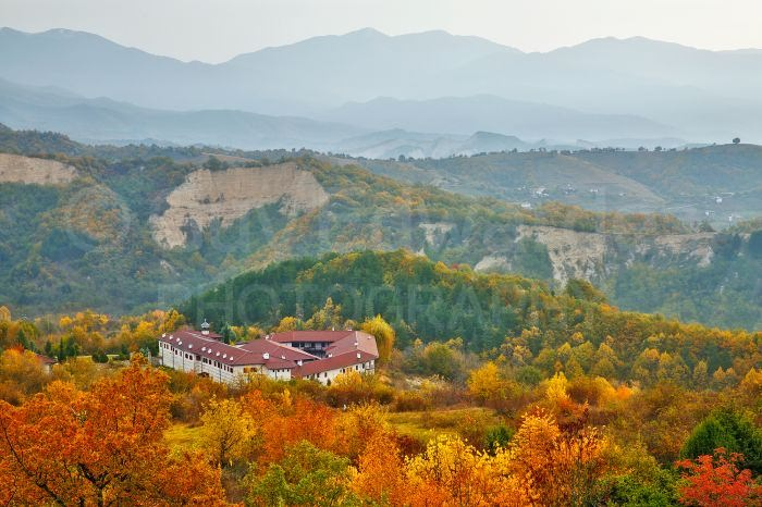 The famous Rozhen Monastery surrounded by autumn colour