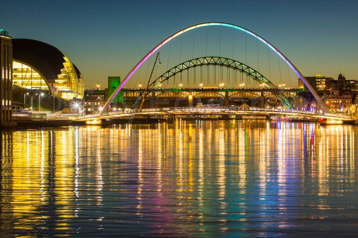 The bridges over the River Tyne after sunset