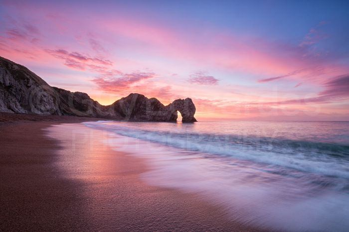 We were lucky to capture a particularly good sunrise at Durdle Door one morning. This is one of a number of successful images taken as the colours changed.