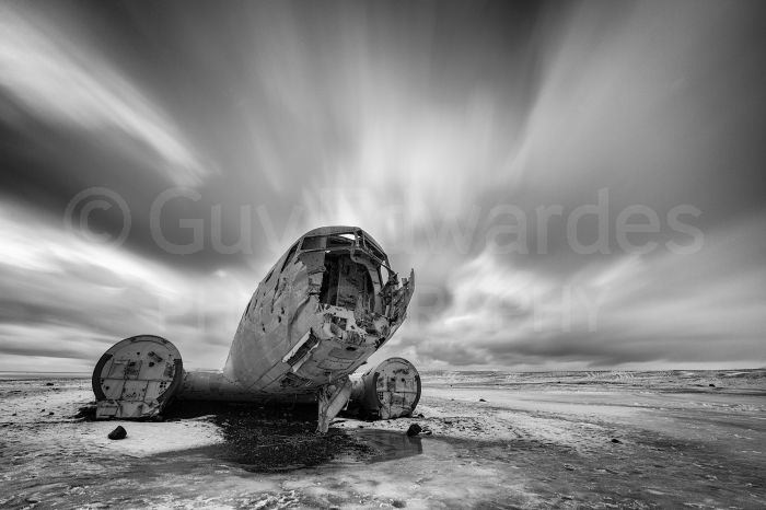 A crashed DC-3 plane on the remote sand flats of southern Iceland