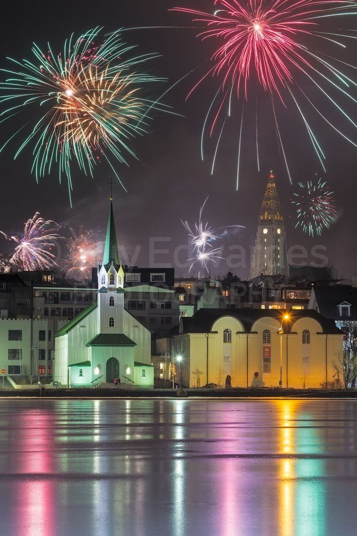 Midnight in Reykjavik on New Year's Eve
