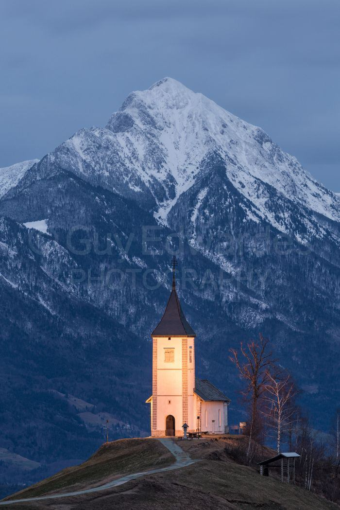 The classic slovenian church on a hilltop - not quite snowy enough this year!