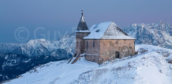 This stone church is situated at almost 2200m on the sumit of a mountain just over the border in Austria