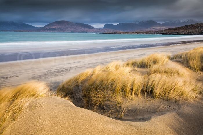 The windswept sand dunes at Luskentyre looked great in the stormy light